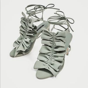 Zara Mint Ruffled Leather Heels